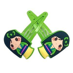 Disney's Mulan Cartoon Green & Yellow Hair Clip Barrettes